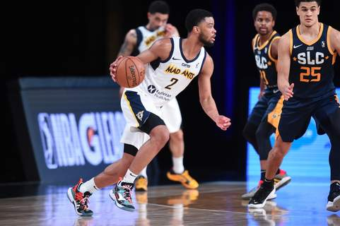 Courtesy Mad Ants/NBAE  Mad Ants guard Cassius Stanley, who will participate Sunday in the NBA's dunk contest, dribbles Tuesday for Fort Wayne against Salt Lake City in Orlando, Florida. (Juan Ocampo Contributor)