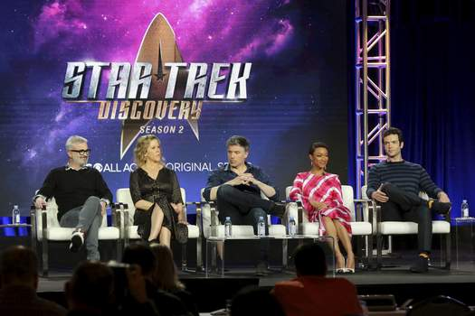 """Paramount+ Streaming Launch Associated Press Members of the cast for """"Star Trek: Discovery"""" participate in a show panel in January 2019. """"Star Trek: Discovery"""" will be available on Paramount+, a streaming service that debuted Thursday. (Willy SanjuanINVL)"""