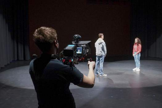 """Photos by Mike Moore   The Journal Gazette Brock Eastom of Frosty Pictures films Fort Wayne Youtheatre performers Tuesday for their upcoming virtual show """"Young Heroes of 2020."""""""
