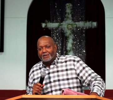Pastor Anthony R. Pettus Sr. preaches Feb. 28 during a service streaming live on Facebook.