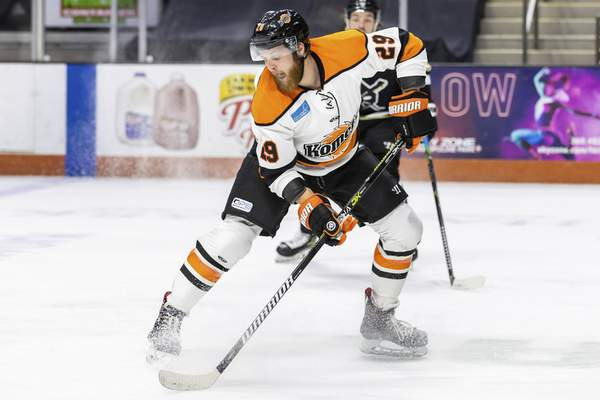 Josh Gales| Special to The Journal Gazette  Forward Travis Howe skates for the Komets on Saturday night at Memorial Coliseum.