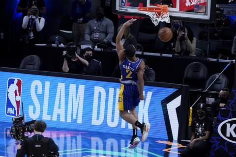 NBA All Star Game Basketball Indiana Pacers' Cassius Stanley competes in the Slam Dunk contest during basketball's NBA All-Star Game in Atlanta, Sunday, March 7, 2021. (AP Photo/Brynn Anderson) (Brynn Anderson STF)
