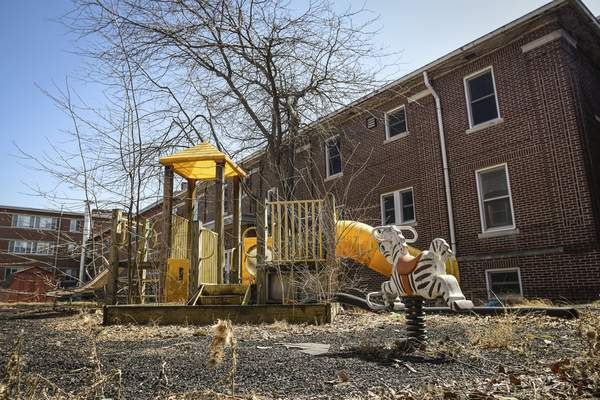Mike Moore | The Journal Gazette  An old playground at Byron Hospital on Lima Road Sunday.