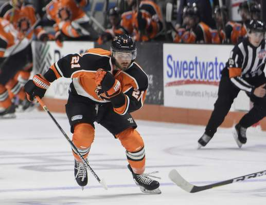 Mike Moore | The Journal Gazette Komets forward Marc-Olivier Roy races down the ice in the first period against Indy at Memorial Coliseum on Saturday.