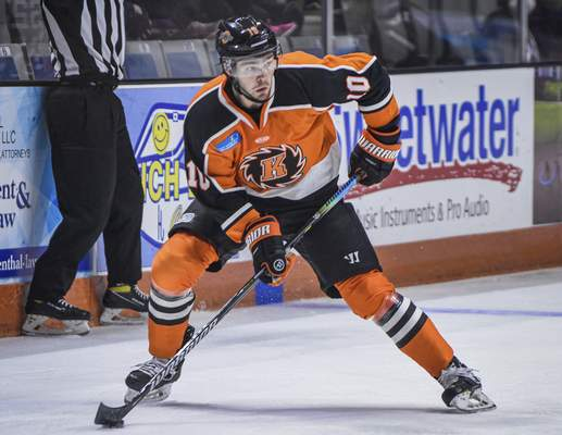 Mike Moore | The Journal Gazette Komets defenseman Nick Boka eyes the net in the first period against Indy at Memorial Coliseum on Saturday.