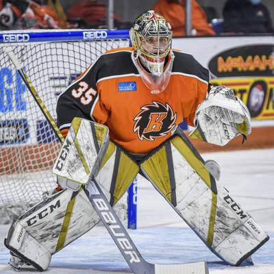 Mike Moore | The Journal Gazette  Komets goalie Dylan Ferguson in the first period against Indy at Memorial Coliseum on Saturday.