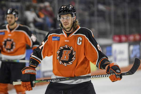 Mike Moore | The Journal Gazette Komets forward A.J. Jenks in the first period against Indy at Memorial Coliseum on Saturday.