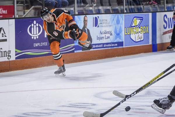 Mike Moore | The Journal Gazette Komets defenseman Blake Siebenaler takes a shot at the net in the first period against Indy at Memorial Coliseum on Saturday.