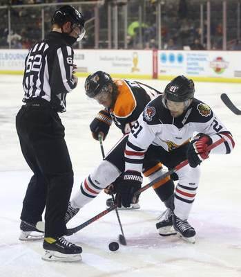 Whiteshark Photography  The Komets' A.J. Jenks, middle, battles for possession with the Indy Fuel's Matt Marcinew, after linesman Christopher Williams dropped the puck for a faceoff Wednesday night at Indianapolis.