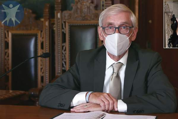 FILE - This July 30, 2020, image taken from video by the Wisconsin Department of Health Services shows Wisconsin Gov. Tony Evers in Madison, Wis. The Wisconsin Supreme Court on Wednesday, March 31, 2021, struck down Gov. Evers' statewide mask mandate, ruling that the Democrat exceeded his authority by issuing the order. The 4-3 ruling from the conservative-controlled court is the latest legal blow to attempts by Evers to control the coronavirus. (Wisconsin Department of Health Services via the AP, File)