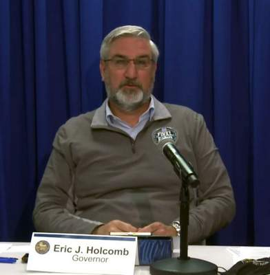 Governor Eric Holcomb during his weekly COVID-19 briefing.