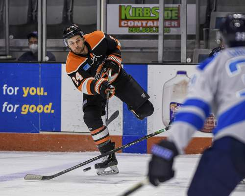 Mike Moore   The Journal Gazette Komets defenseman Randy Gazzola takes a shot at the net in the first period against Jacksonville at Memorial Coliseum on Friday.