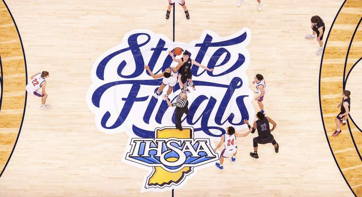 The opening tip-off at the start of the first half of the 2021 IHSAA Class 3A Boys' Basketball State Championship game, Saturday, April 3, 2021, at Bankers Life Fieldhouse in Indianapolis. (Doug McSchooler/for Journal-Gazette)