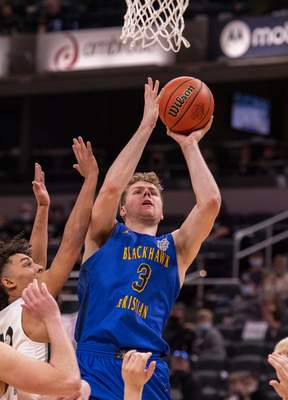 Fort Wayne Blackhawk Christian High School senior Caleb Furst (3) scores with a shot from under the basket during the second half of the 2021 IHSAA Class 2A Boys' Basketball State Championship game against Parke Heritage High School, Saturday, April 3, 2021, at Bankers Life Fieldhouse in Indianapolis. Fort Wayne Blackhawk Christian High School won 55-40. (Doug McSchooler/for Journal-Gazette)