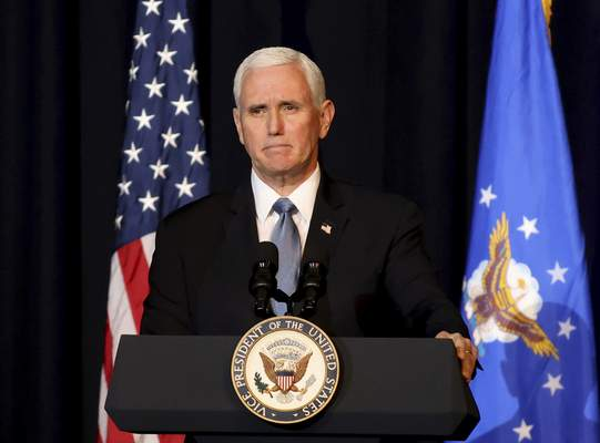 FILE - Vice President Mike Pence speaks during a memorial service for the late Air Force Brig. Gen. Chuck Yeager in Charleston, W. Va., on Jan. 15, 2021. (AP Photo/Chris Jackson, File)