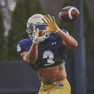 Courtesy | Notre Dame Athletics Slot receiverAvery Davis catches a pass during Notre Dame spring practice.