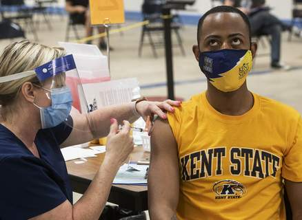 Virus Outbreak College Vaccines Associated Press At Kent State University in Ohio last week, student Marz Anderson gets his Johnson & Johnson vaccination from nurse Beth Krul. (Phil LongFRE)