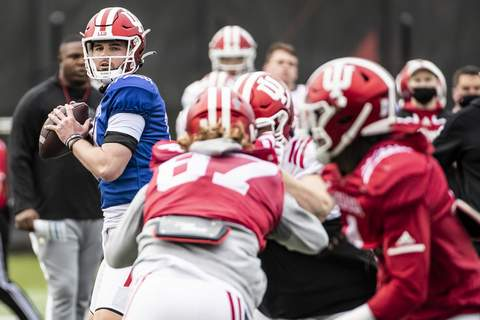 Indiana Athletics Indiana sophomore quarterback Jack Tuttle took all the snaps in spring practice and started two games last season for the injured Michael Penix Jr. (Missy Minear/Indiana Athletics Photographer)