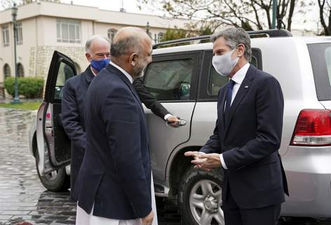 Afghanistan US Associated Press U.S. Secretary of State Antony Blinken, right, talks with Afghanistan's Foreign Minister Mohammad Haneef Atmar on Thursday in Kabul, Afghanistan. (HOGP)