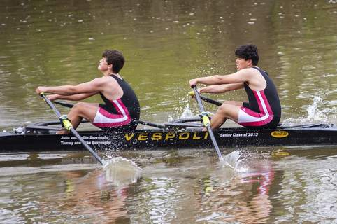 Katie Fyfe | The Journal Gazette Ryan Miller and Ricardo Campos with the Indianapolis Rowing Center compete during Fort Wayne's first annual Summit City Sprints hosted by The G2 Rowing Association on Saturday at Shoaff Park.
