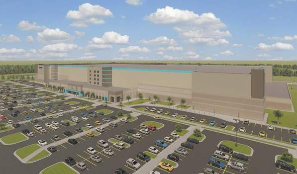 Courtesy An artist's rendering shows Amazon's  634,000-square-foot fulfillment center on Flaugh Road.