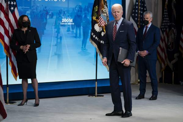 Associated Press  President Joe Biden answers a reporter's question about COVID-19 vaccinations Wednesday at the White House.