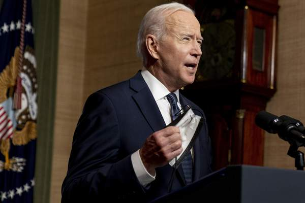 FILE - In this April 14, 2021 file photo, President Joe Biden speaks from the Treaty Room in the White House about the withdrawal of the remainder of U.S. troops from Afghanistan. (AP Photo/Andrew Harnik, Pool, File)