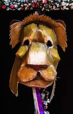 "A lion mask is just one of many made for the Fort Wayne Youtheatre production ""The Lion, the Witch and the Wardrobe."""