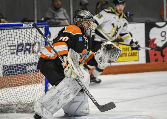 Komets goalie Trevor Gorsuch keeps an eye on the action during the first period Friday night against Wheeling. Gorsuch signed Thursday.