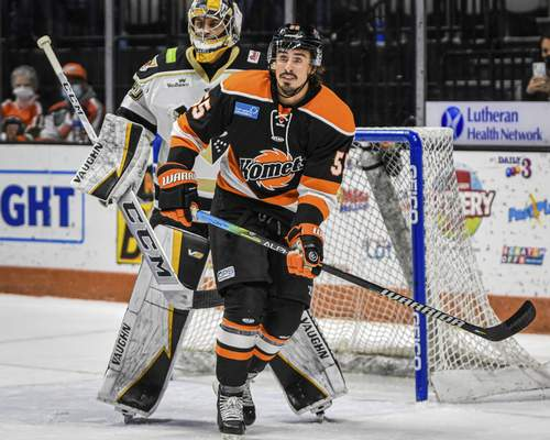 Mike Moore | The Journal Gazette Komets forward Jackson Leef watches for the puck near Wheeling's net on Friday in the first period at Memorial Coliseum.