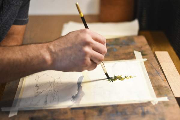 De Somer says student-grade or professional watercolor paper is ideal for painting.