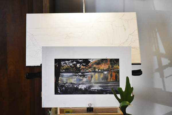 Katie Fyfe | The Journal Gazette  Watercolor artist Tom De Somme's home studio pictured on Friday, March 23rd, 2021.