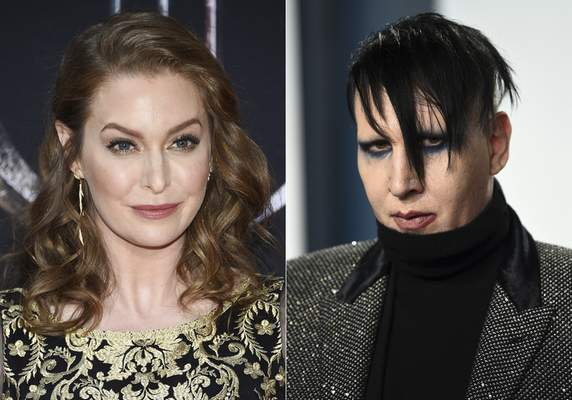 In this combination photo, actress Esmé Bianco appears at HBO's Game of Thrones final season premiere in New York on April 3, 2019, left, and musician Marilyn Manson appears at the Vanity Fair Oscar Party in Beverly Hills, Calif. on Feb. 9, 2020. (Photos by Evan Agostini/Invision/AP)