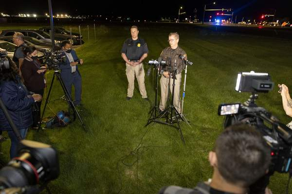 Lt. Kevin Pawlak of the Brown County Sheriff's Office talks to the media about a shooting incident with multiple fatalities at the Oneida Casino near Green Bay, Wis.,on Saturday May 1, 2021. (AP Photo/Mike Roemer)