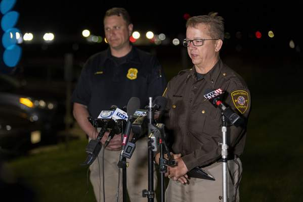 Lt. Kevin Pawlak of the Brown County Sheriff's Office talks to the media about a shooting incident with multiple fatalities at the Oneida Casino near Green Bay, Wis on Saturday May 1, 2021. (AP Photo/Mike Roemer)