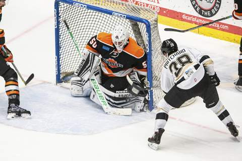 Zack Rawson| Special to The Journal Gazette  Komets goaltender Stefanos Lekkas, middle, has been the backup with the NHL's Buffalo Sabres the last two nights.