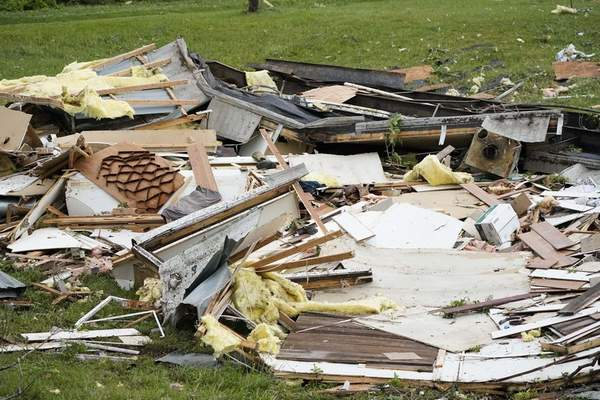 The remains of a mobile home are shown early Monday, May 3, 2021, in Yazoo County, Miss. (AP Photo/Rogelio V. Solis)