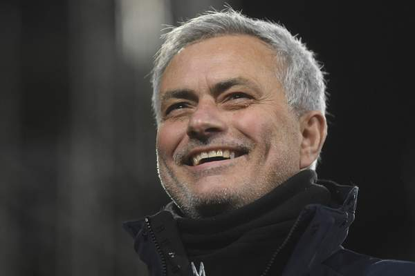 FILE - In this Thursday, March 4, 2021 file photo, Tottenham's manager JoséMourinho smiles during the English Premier League soccer match between Fulham v Tottenham Hotspur at the Craven Cottage stadium in London. (Neil Hall/Pool via AP, File)