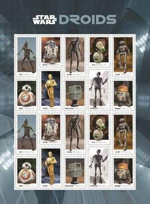 """Courtesy U.S. Postal Service The U.S. Postal Service introduced 20 Forever stamps featuring """"Star Wars"""" droids."""