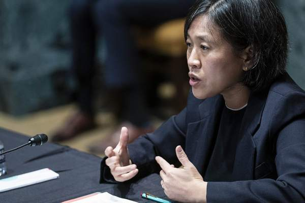 FILE - In this April 28, 2021, file photo, U.S. Trade Representative Katherine Tai testifies during a Senate Appropriations subcommittee on Commerce, Justice, Science, and Related Agencies hearing on Capitol Hill in Washington. (Sarah Silbiger/Pool via AP, File)