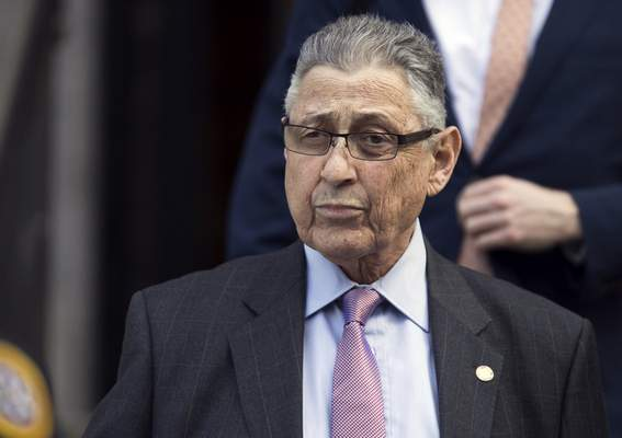 FILE - In this May 11, 2018 file photo, former New York Assembly Speaker Sheldon Silver leaves federal court in New York. (AP Photo/Mary Altaffer, File)