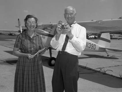 Mr. and Mrs. James F. Lee of Menlo Park, California, stopped off at Smith Field on July 19, 1962, to refuel their small plane and spend the night. The couple – both pilots – were headed toward home on their third cross-country flight taking 3D pictures from the air. (Journal Gazette file photo)