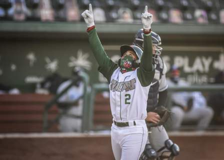 Mike Moore | The Journal Gazette TinCaps outfielder Jawuan Harris celebrates after hitting a homerun in the first inning against West Michigan at Parkview Field on Friday.