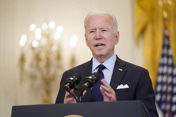 Associated Press President Joe Biden speaks about the April jobs report Friday at the White House.