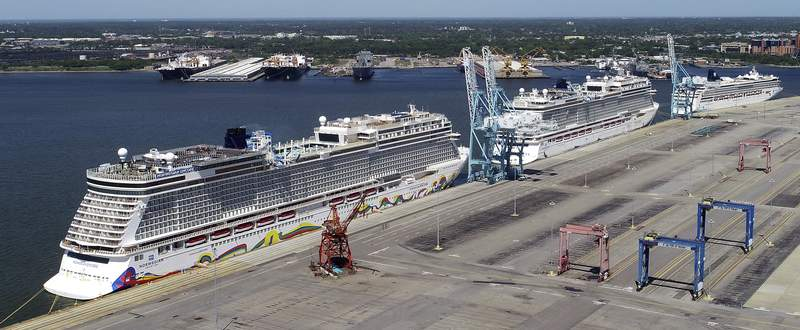 Norwegian Cruise Line-Florida Associated Press  Norwegian Cruise Lines is threatening to skip Florida ports because of the governor's order banning businesses from requiring that customers be vaccinated against COVID-19. (Stephen M. KatzMBO)