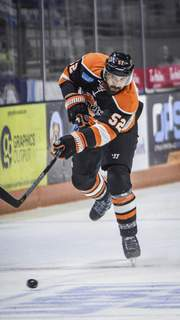 Mike Moore | The Journal Gazette Komets defenseman Mathieu Brodeur in the first period against Wheeling on Wednesday.