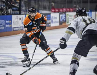 Mike Moore | The Journal Gazette Komets right wing Zach Pochiro in the first period against Wheeling on Wednesday.