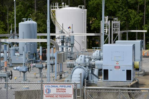 A Colonial Pipeline station is seen, Tuesday, May 11, 2021, in Smyrna, Ga., near Atlanta. (AP Photo/Mike Stewart)