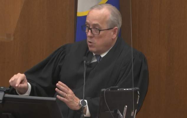 FILE - In this April 19, 2021, file image from video, Hennepin County Judge Peter Cahill addresses the court after the judge put the trial into the hands of the jury, in the trial of Chauvin, in the May 25, 2020, death of George Floyd at the Hennepin County Courthouse in Minneapolis, Minn. (Court TV via AP, Pool)