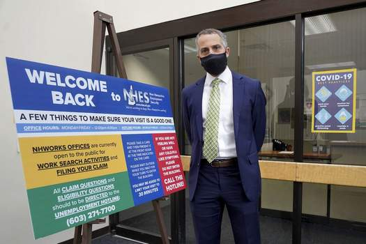 Richard Lavers, Deputy Commissioner New Hampshire Employment Security, poses for a photo at a New Hampshire Works employment security job center Monday, May 10, 2021, in Manchester, N.H. (AP Photo/Mary Schwalm)